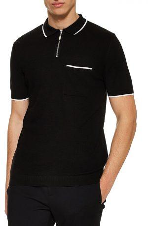 Men's Topman Front Zip Polo Shirt, Size X-Small - Black