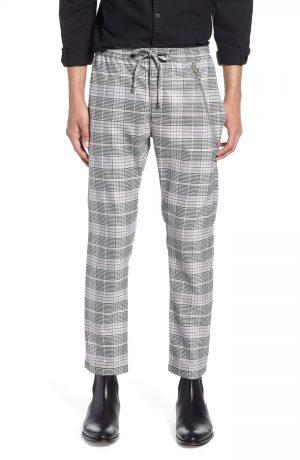 Men's Topman Stretch Skinny Fit Check Jogger Pants, Size 30 x 32 - Pink