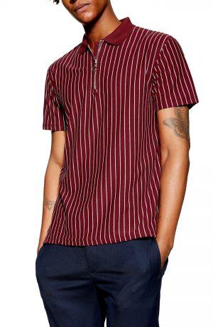 Men's Topman Stripe Zip Polo, Size Large - Burgundy