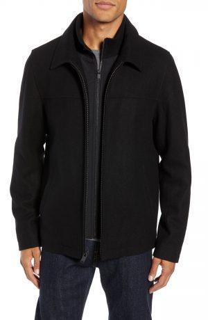 Men's Vince Camuto Layered Wool Blend Coat, Size X-Large - Black