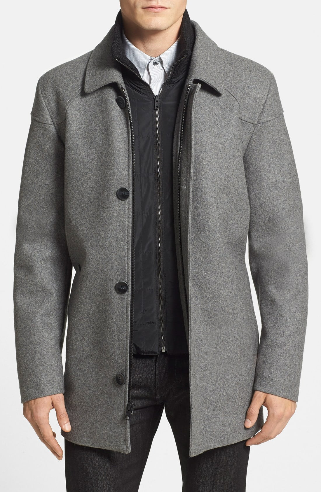 Men's Vince Camuto Melton Car Coat With Removable Bib, Size Medium - Grey