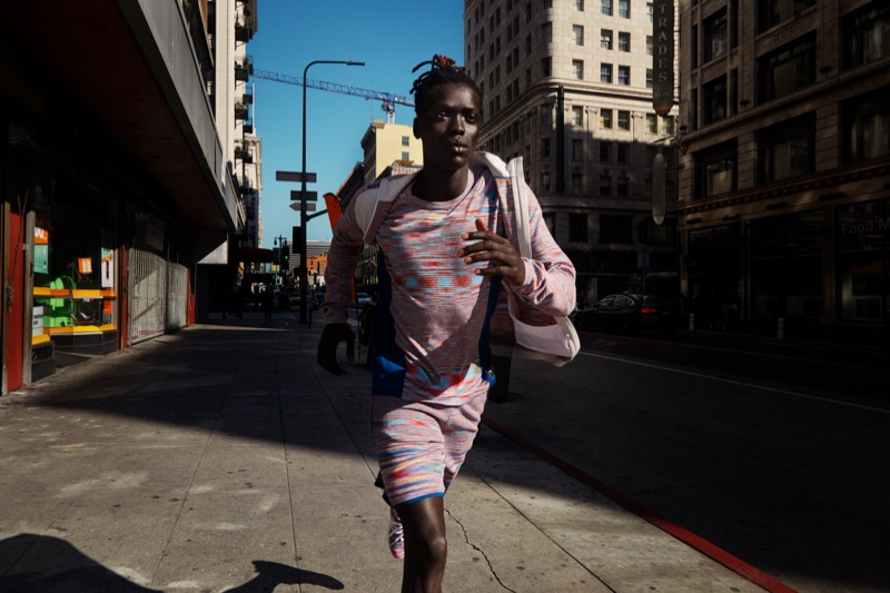 On the move, Prince Del sports activewear from the Adidas x Missoni collaboration.