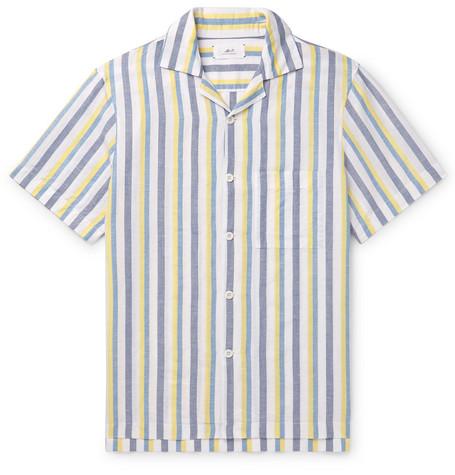 Mr P. - Camp-Collar Striped Linen and Cotton-Blend Shirt - Men - Multi
