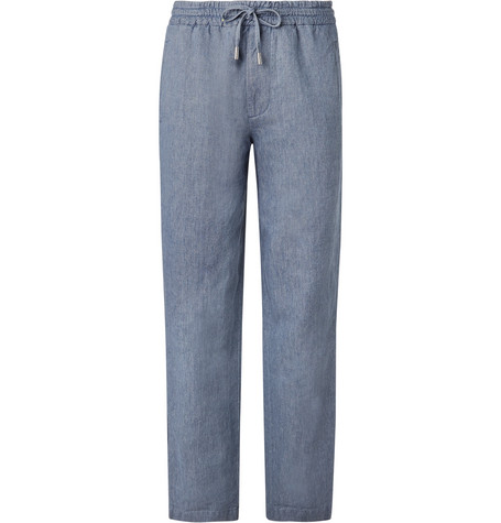 Mr P. - Light-Blue Wide-Leg Linen and Cotton-Blend Chambray Drawstring Trousers - Men - Blue