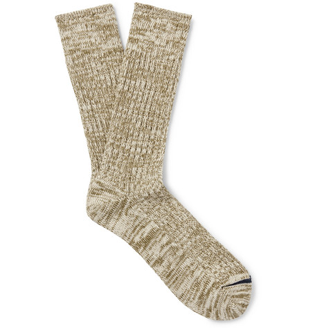Mr P. - Ribbed Mélange Cotton-Blend Socks - Men - Army green