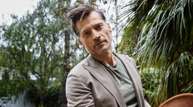 Grant Woolhead styles Nikolaj Coster-Waldau for a Man About Town photo shoot.