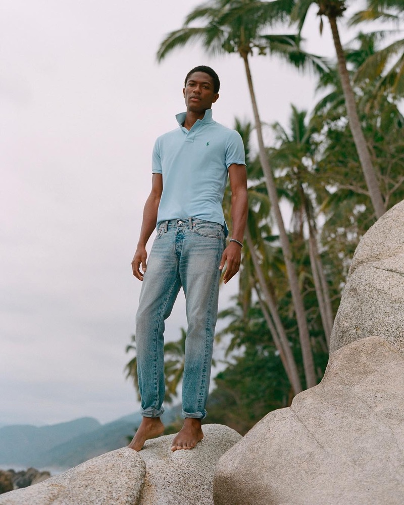 Reuniting with POLO Ralph Lauren, Hamid Onifade appears in the brand's new Earth Polo campaign.