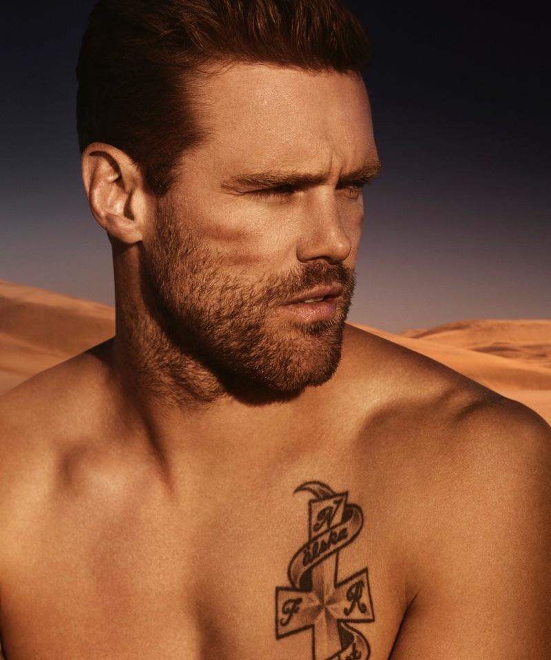 Simon Eeles photographs Nick Youngquest for Paco Rabanne Invictus.