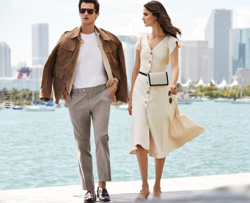 Models Garrett Neff and Blanca Padilla star in Pedro del Hierro's summer 2019 campaign.