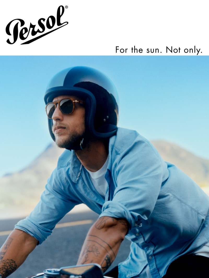 Riding a motorcycle, Dennis Klaffert fronts Persol's spring-summer 2019 campaign.