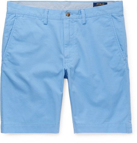 b5562d6be4996 Polo Ralph Lauren – Slim-Fit Stretch-Cotton Twill Chino Shorts – Men –  Light blue