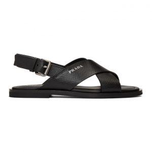 Prada Black Saffiano Sandals
