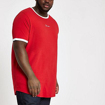 7c2f8a0e River Island Mens Big and Tall red 'Prolific' curve T-shirt   The  Fashionisto