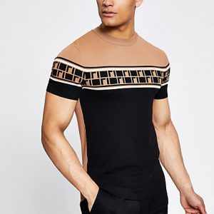 River Island Mens Brown RI muscle fit knitted T-shirt