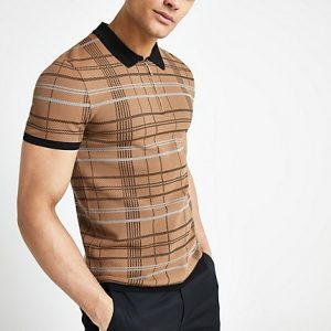 River Island Mens Brown check muscle fit zip neck polo shirt