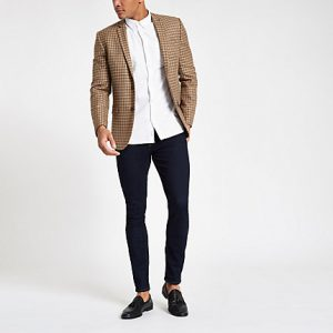 River Island Mens Brown check skinny fit blazer
