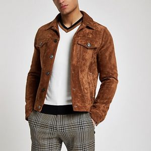 River Island Mens Brown faux suede western jacket