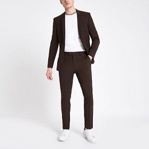 River Island Mens Brown skinny fit suit pants