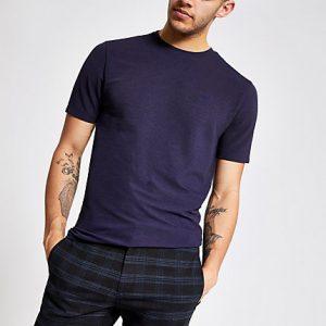 River Island Mens Dark grey ribbed slim fit T-Shirt