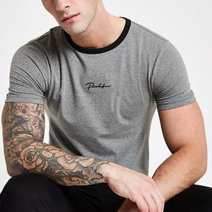 River Island Mens Grey 'Prolific' muscle fit T-shirt