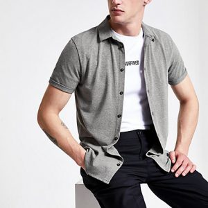 River Island Mens Grey grindle muscle fit shirt