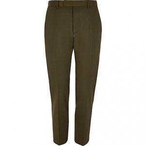 River Island Mens Khaki high shine skinny stretch suit pants