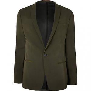 River Island Mens Khaki high shine stretch skinny suit jacket