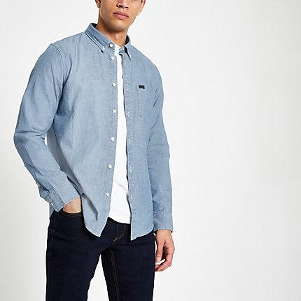 River Island Mens Lee light blue button down denim shirt