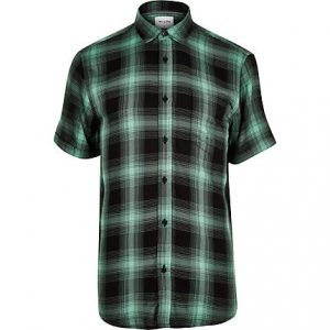 River Island Mens Only and Sons green check short sleeve shirt