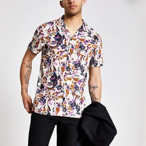 River Island Mens Pink marble short sleeve shirt