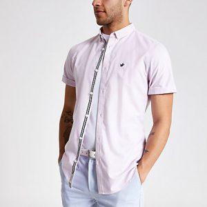 River Island Mens Pink short sleeve Oxford shirt