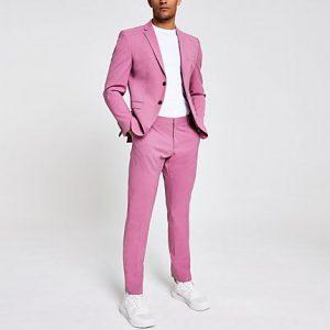 River Island Mens Selected Homme pink slim fit suit pants