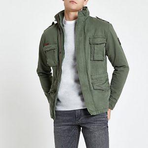 River Island Mens Superdry khaki classic four pocket jacket