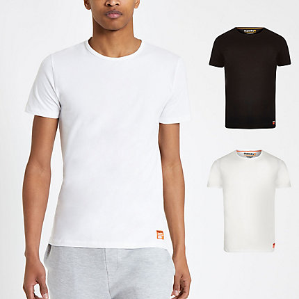 River Island Mens Superdry white slim fit T-shirt 2 pack