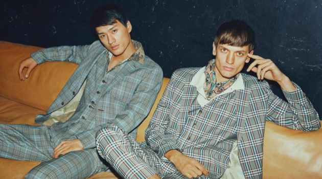 Donning three-piece check suits, Chen Cong and Eddie Klint front SAND Copenhagen's spring-summer 2019 campaign.