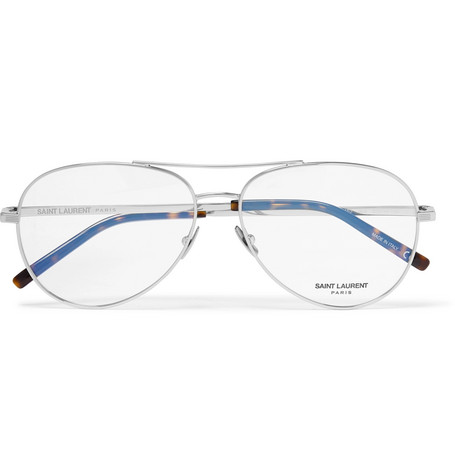 Saint Laurent - Aviator-Style Silver-Tone Optical Glasses - Men - Silver