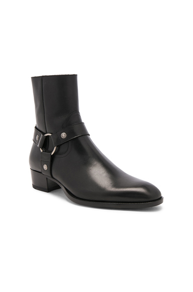 Saint Laurent Leather Wyatt Harness Boots in Black. - size 44 (also in 40,41,43,45)