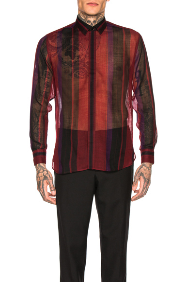 Saint Laurent Long Sleeve Shirt in Red,Stripes,Purple. - size 42 (also in 38,39,41)