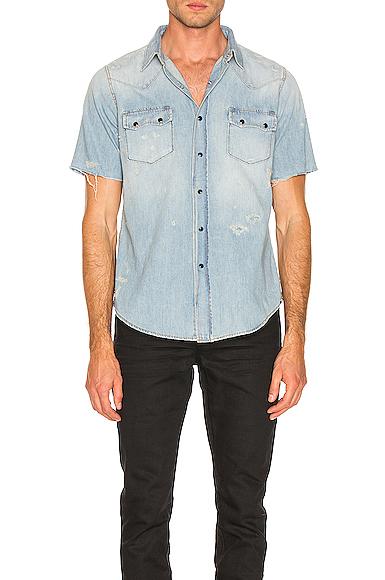 Saint Laurent Short Sleeve Denim Shirt in Denim Light. - size L (also in S,M,XL)