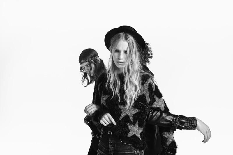 Models Rebecca Leigh Longendyke and Rai Langlois front Saint Laurent's spring-summer 2019 denim campaign.