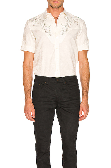 Saint Laurent Western Shirt in White. - size 39 (also in 38,40,41)