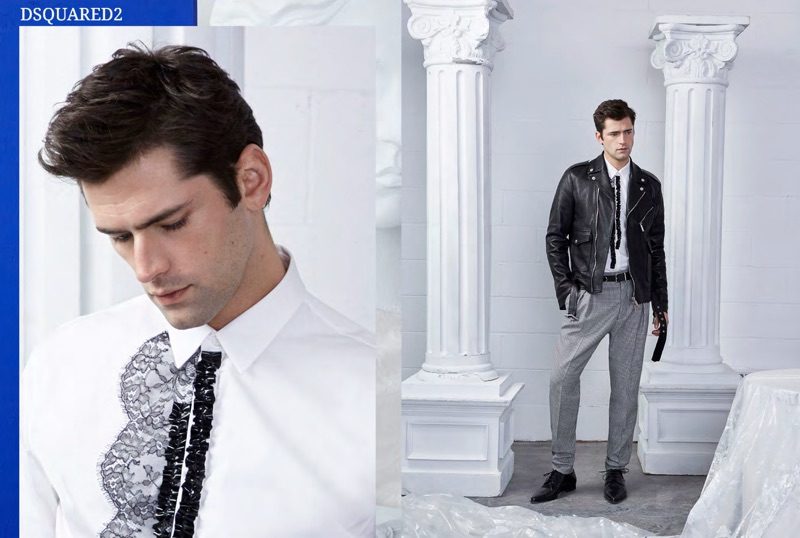 A modern vision, Sean O'Pry wears a leather biker jacket and tailoring from Dsquared2.