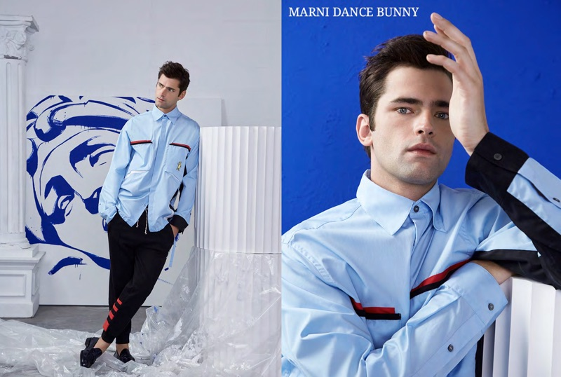 Sean O'Pry dons a look from Marni's Dance Bunny capsule for spring-summer 2019.