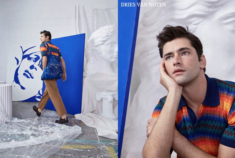 Daydreaming, Sean O'Pry models a colorful look from Belgian designer Dries Van Noten.