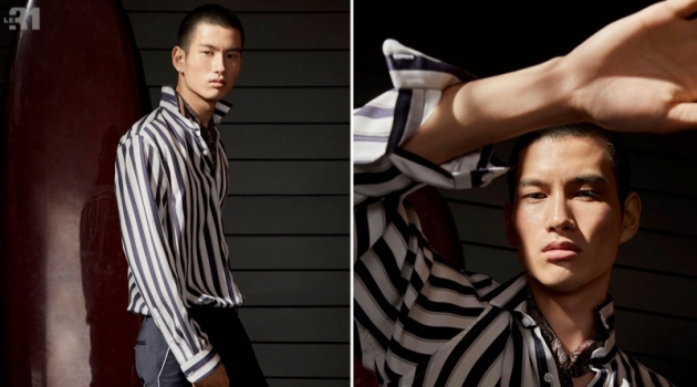 Donning a striped shirt by LE 31, Kohei Takabatake also wears a paisley scarf and piped pants from the brand.