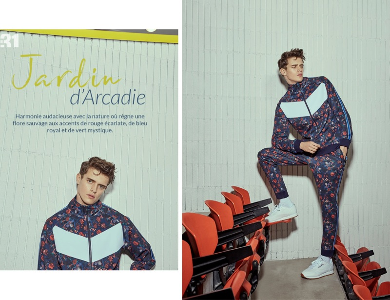 Jordy Baan wears a LE 31 flower print tracksuit with Reebok Classic sneakers.