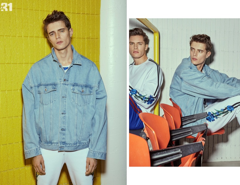 Left: Jordy Baan rocks a Levi's oversized denim jacket and LE 31 sweatpants. Right: Simon Malenfant joins Jordy in a look by LE 31.