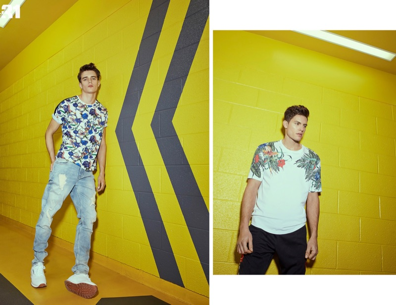 Left: Going casual, Jordy Baan wears a LE 31 floral print t-shirt and Calvin Klein Jeans denim. Right: Simon Malenfant sports a tropical print t-shirt with joggers by LE 31.
