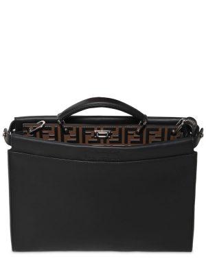 Slim Peekaboo Ff Embossed Leather Bag