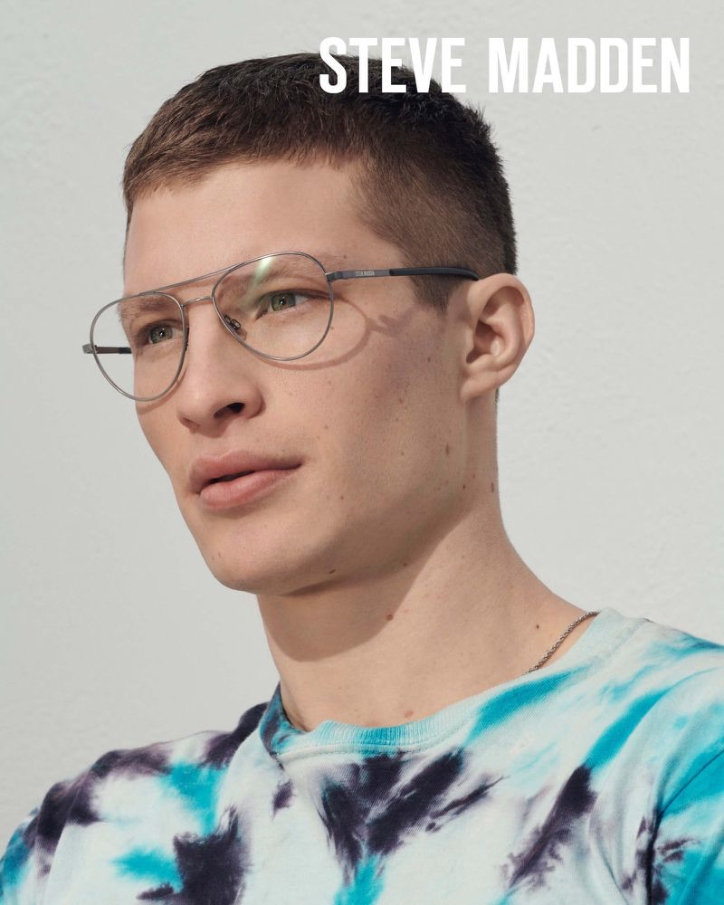 A smart vision, Jordan Paris dons glasses for Steve Madden's summer 2019 campaign.